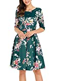Sidefeel Women Vintage 1950's 3/4 Sleeve Floral Print Pleated Cocktail Swing Dress Large Dark Green