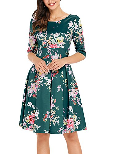 Sidefeel Women Vintage 1950's 3/4 Sleeve Floral Print Pleated Cocktail Swing Dress Small Dark (Floral Cocktail)