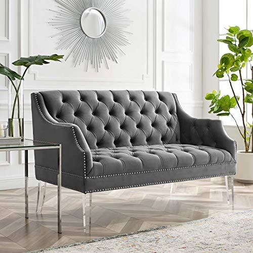 Modway Proverbial Tufted Performance Velvet Two-Seater Sofa Loveseat