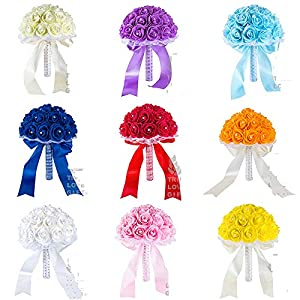 Many Colors Foam Flower Bridesmaid Bouquets Wedding Decoration Crystal Ribbon Romantic Wedding Flowers Bridal Bouquets 98