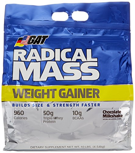 (GAT Radical Mass, Top Weight Gainer For Building Size & Strength Faster, Premium Muscle Builder with milkshake flavor, Chocolate Milkshake, 10 Pounds )