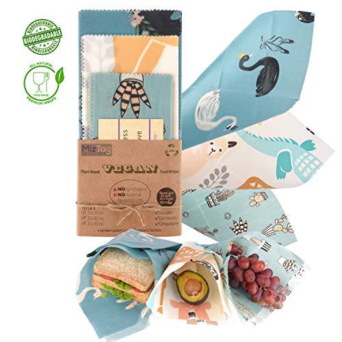 Reusable Food wrap NO Beeswax - 100% Plant Based | 3 wax wraps for food Reusable set | Great Reusable Plastic wrap ALTERNATIVE to Beeswax food wrap | Food wraps Eco Friendly | 2 Large 1 Medium