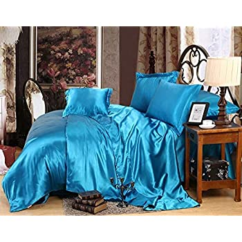 Image of 600TC 1 Piece 500GSM Fiber Fill Comforter Full Size Turquoise Blue Solid 100% Silky Satin - by AP Beddings Home and Kitchen
