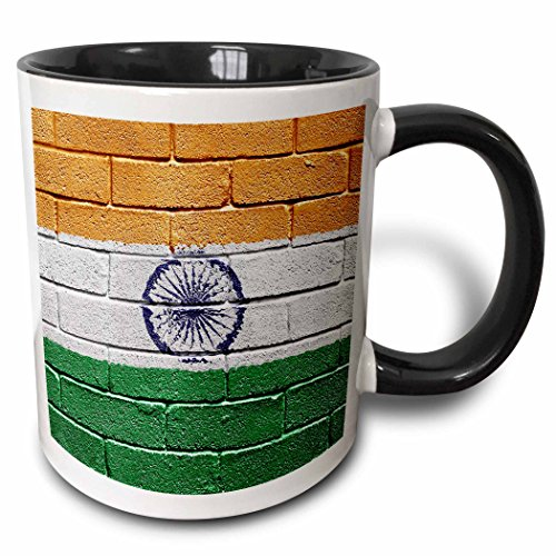 3dRose 155246_4 National Flag Of India Painted Onto A Brick Wall Indian Mug, 11 oz, Black