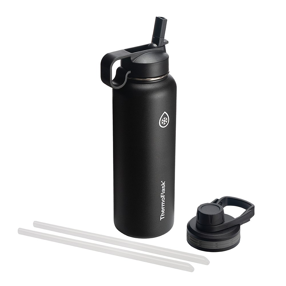 Takeya 50060 Thermoflask Bottle with Chug and Straw Lid, 40oz, Black