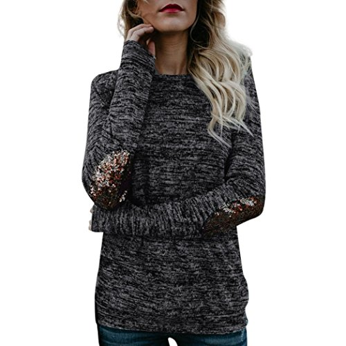 POachers Chemise Femme Tops à Manches Longues Paillettes Blouse Noir Shirt Vrac Tops S à XL