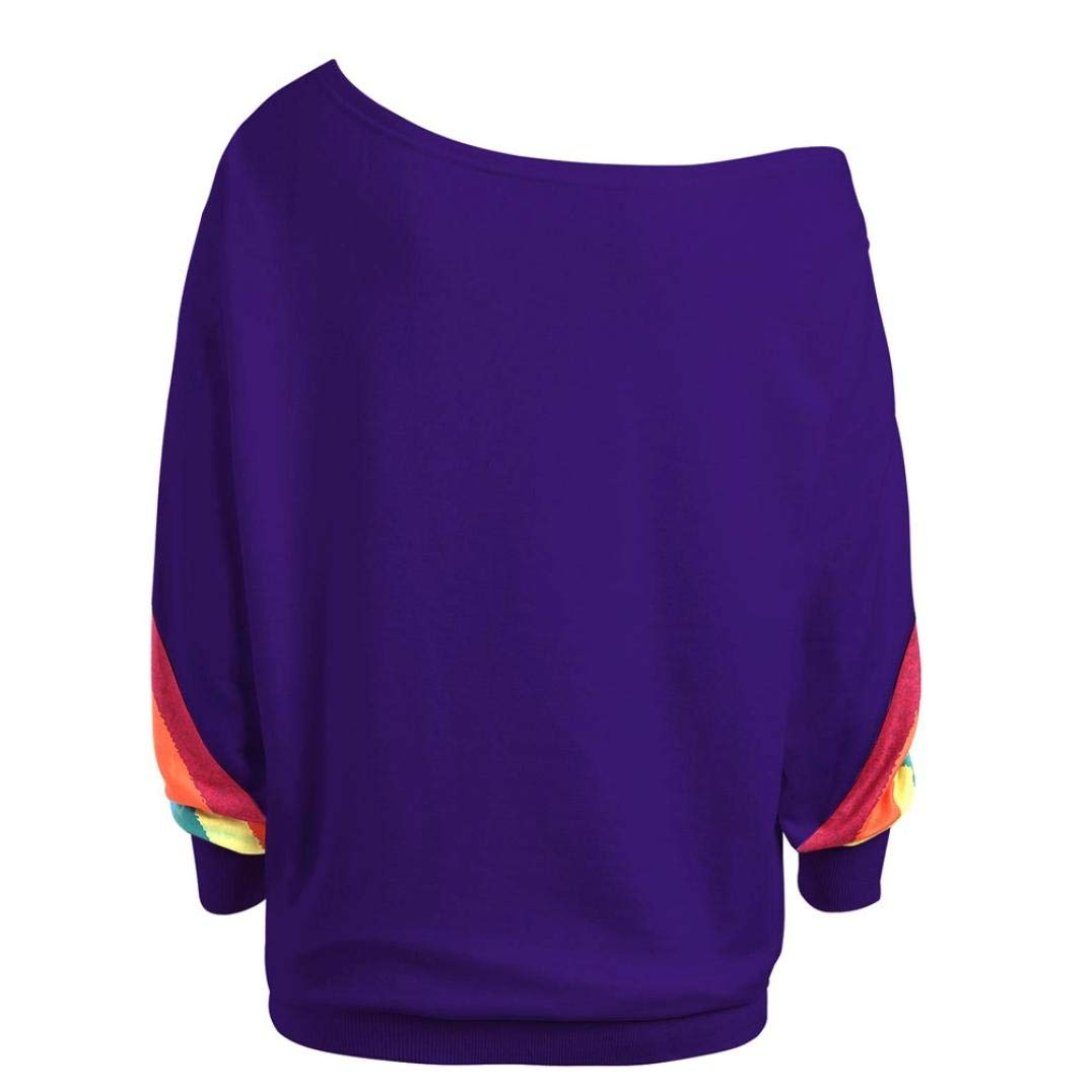 Moda 2018 Camisa de Mujer Manga Larga O-Cuello Impreso del Arco Iris Casual Suelto Blusa Tops Camiseta Blusa Tops