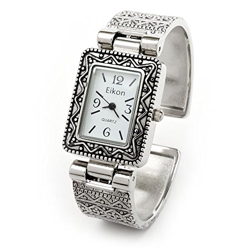 Silver Metal Western Style Decorated Rectangle Face Women's Bangle Cuff (Western Style Bangle Watch)