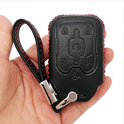 Alegender Hand Sew Leather Keyless Entry Remote Key Fob Cover Case Skin Protector for 2015 2016 2020 Chevrolet Tahoe Suburban Chevy GMC Yukon GM Remote Control: Automotive