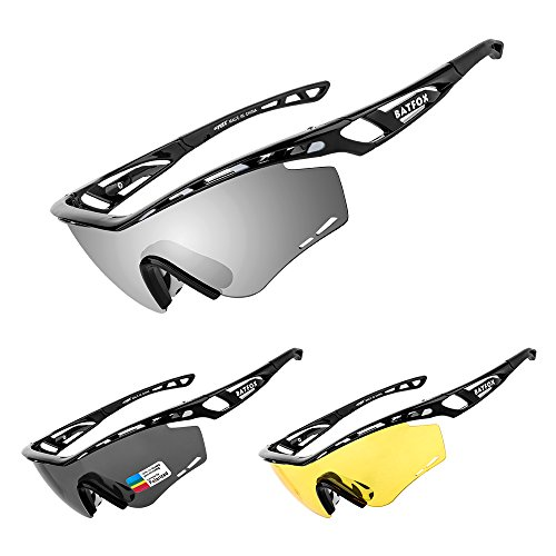 BATFOX Polarized Sports Sunglasses Memory Metal Glasses Leg for Men Women Cycling Running Driving Fishing Golf Baseball Runners Adults Youth - Boating Best Sunglasses