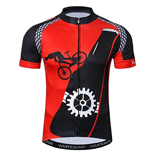 0a3f09eb1 Xinzechen Men s Cycling Jersey Short Sleeve Youth Bike Shirt Top MTB  Bicycle Clothing Outdoor Sports Wear Breathable Black Red Gear Size XXL