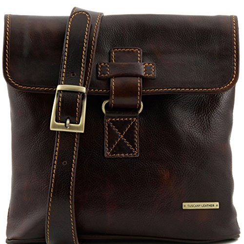 Tuscany Leather Andrea Leather Crossbody Bag Dark Brown by Tuscany Leather
