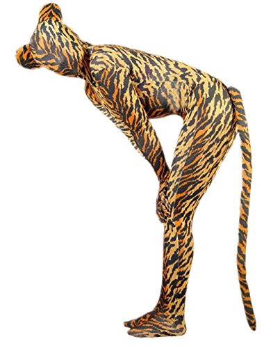 Dance Ideas Jungle Costume (Marvoll Lycra Tiger Zentai Full BodySuit With Ears and Tail (Kids Small,)