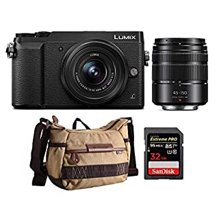 Panasonic DMC-GX85WK LUMIX 4K Mirrorless Camera with 12-32mm & 45-150mm Lenses Havana Bag Bundle