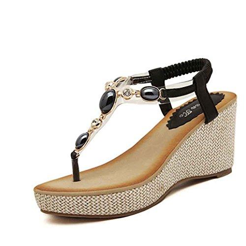 Jamicy Women's Fashion Sweet Beaded Bohemian Style Platforms Sandals Black vjHzhjK
