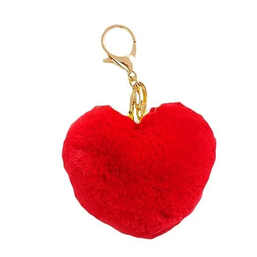 P12cheng - Llavero con pompón y pompón en Forma de corazón ...