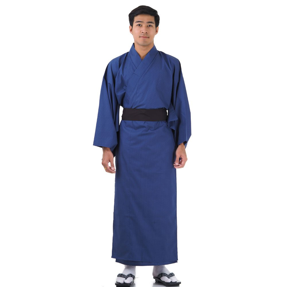 Japanischer Herren Yukata Kimono Baumwolle M L XL Blau XKM106