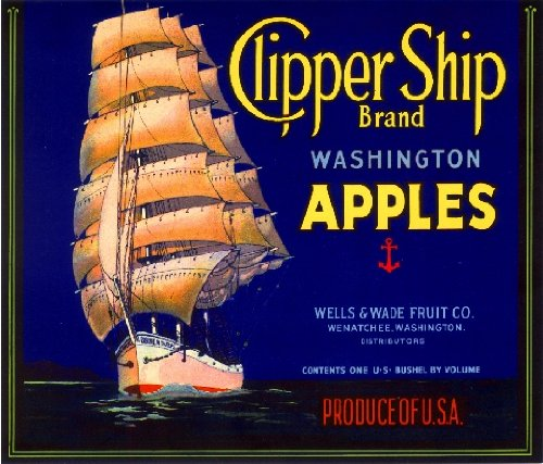 A SLICE IN TIME Wenatchee Washington State Clipper Ship Blue Apple Fruit Crate Label Art Print
