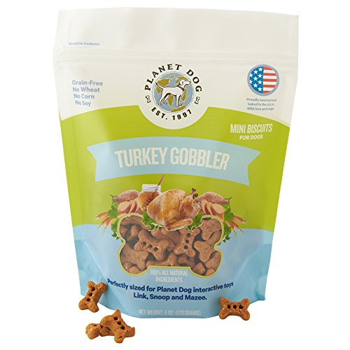 Planet Dog All Natural Dog Treats, Bite-Sized Mini Biscuit, Made in USA, 6oz (Grain Free Turkey Gobbler)