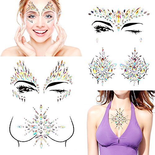 Bling 4 Sets Self-adhesive Mermaid Face Gems Stickers, Rave Festival Face Jewels Crystal Rhinestone Temporary Tattoo Stickers DIY Crafts Gem for Body, Makeup, Festival, Carnival