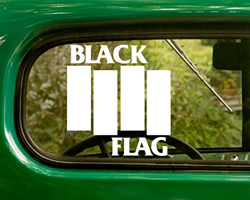2 BLACK FLAG Decal Rock Band Stickers White Die Cut For Window Car Jeep 4x4 Truck Laptop Bumper ()