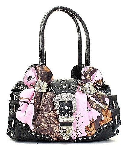 Hobo Croco Handbag (Mossy Oak Pink Camouflage Rhinestone Studded Handbag Black Croco Trim)