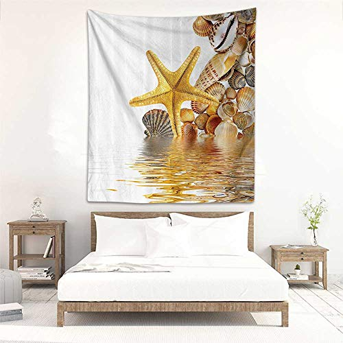 Tapestry Wall Hanging Seashells Decor Shells and Starfish Reflection On Water Golden Color Wellness Spa Natural Clear Beach Theme Living Room Background Decorative Painting - Shells Needlepoint Natural