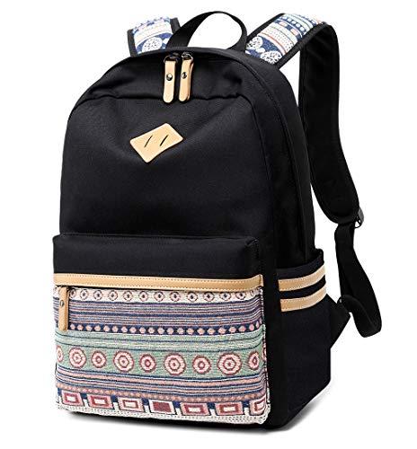 LuckyZ High School Backpack Big Student Lightweight College Casual Laptop Bookbags Canvas Waterproof Travel Black Daykpack -