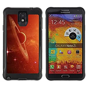 LASTONE PHONE CASE / Suave Silicona Caso Carcasa de Caucho Funda para Samsung Note 3 / Saturn Rings Red Galaxy Star Cluster Dust Planet