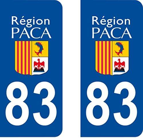 2 pegatinas estilo placa de matrícula del departamento 83 (Francia ...