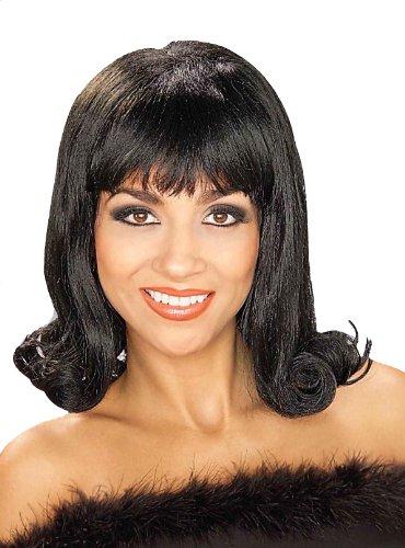 Forum Novelties Womens 60s Flip Curly Costume Wig, Black, One Size