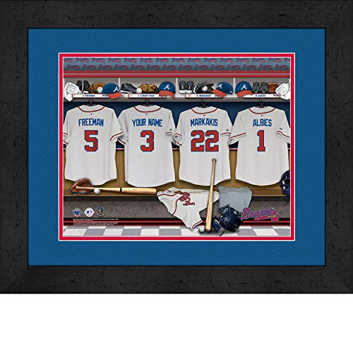 Atlanta Braves Personalized MLB Baseball Locker Room Jersey Framed Print 14x18 ()