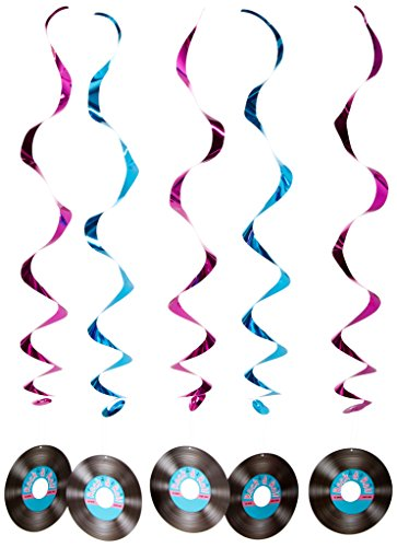 [Rock & Roll Record Whirls   (5/Pkg)] (Music Party Decorations)
