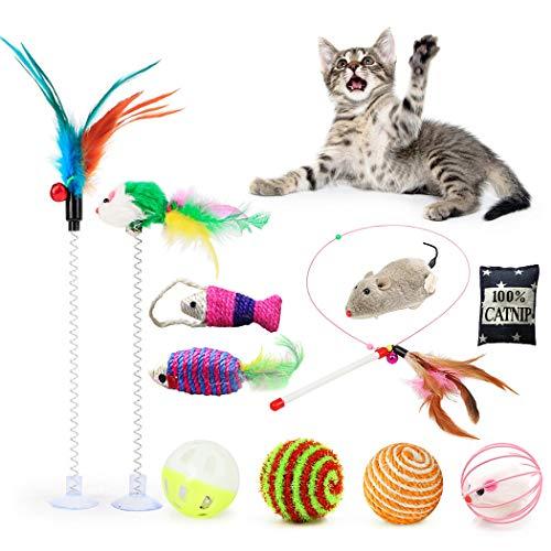 Fansport 11 Stück Katzenspielzeug Set,Katze Interaktiv Toys mit Ball/Mäuse/Federn Plüschspielzeug,Spielzeug Variety Pack…