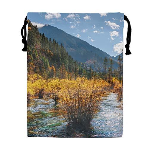 River Fall Mountain Tree Foliage Drawstring Sport Bag Lightweight Sackpack Handbag (Ribbon Michaels Fall)