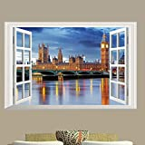 "DNVEN (24""w X 16""h) 3D Full Colour High Definition London Big Ben Clock City Night False Faux Window Frame Window Mural Vinyl Bedroom Living Room Playroom Wall Decals Stickers"