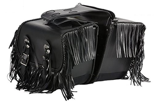 Billys Biker Gear PVC Motorcycle Saddlebags With Fringe