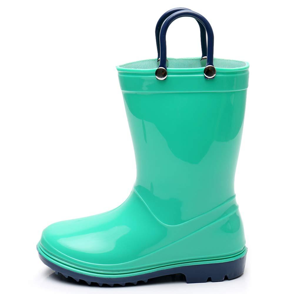 Girls Solid Lightweight Rain Boots with Handle Kids Cute Waterproof Shoes(Grey/Black/Blue/Green) (Little Kid 3M, Green) by TRIPLE DEER (Image #2)