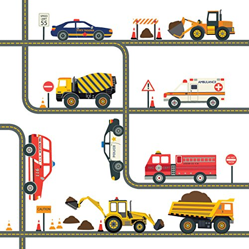 Curved Wall Construction - Construction and Emergency Vehicle Wall Decals with Straight and Curved Gray Road 30 ft, Removable Fabric Wall Stickers
