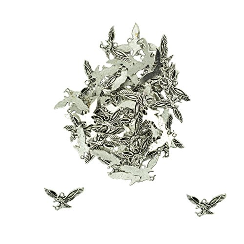 MonkeyJack 50 Pieces Tibetan Silver Hawk Eagle Bird Flying Charms Pendants Jewelry DIY