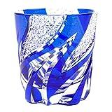Crystal Double Old Fashioned Glass Edo Kiriko Cut Glass Homura Fire Flame - Blue [Japanese Crafts Sakura]