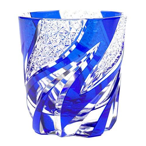 Crystal Double Old Fashioned Glass Edo Kiriko Cut Glass Homura Fire Flame - Blue [Japanese Crafts Sakura] by Japanese Crafts Sakura