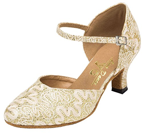 Cha Golden EU Wedding Light YYM cha Ballroom Womens Heel Dance Shoes 41 Latin Satin L160 Party Closed Mid Toe W4nRqUaYR