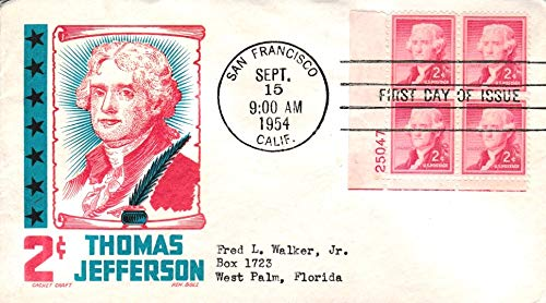 United States Scott 1033 2c Adams Plate 25047 Block 1954 Liberty Issue 1954 San Francisco, Calif. First Day Issue to West Palm Beach, Florida. Cachet Craft/Boll Cachet Mellone 1033-12. ()