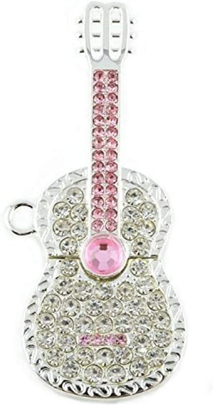 Hemore 32gb Cristal Diamante Guitarra USB Flash Drive Pen Drive con Collar (Plata y Rosa): Amazon.es: Electrónica