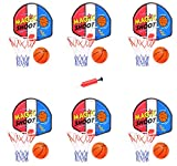 [Value Bundle] Mini Indoor Basketball Hoops with Pump and Balls for Party Favors Supplies (Set of 6)