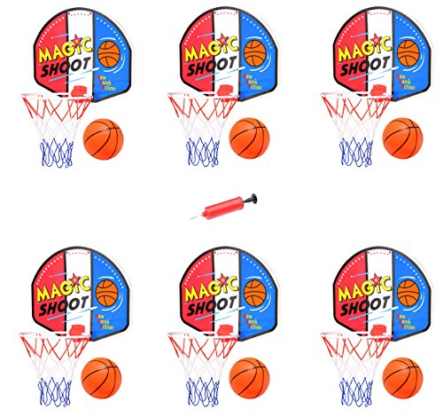 Mini Rim (Liberty Imports [Value Bundle] Mini Indoor Basketball Hoops with Pump and Balls for Party Favors Supplies (Set of 6))