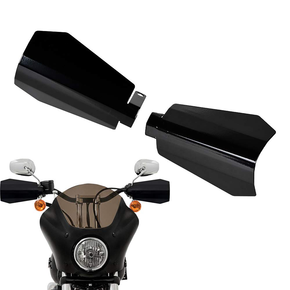 2X Stainless Steel Hand Guard Compatible with Harley Sportster Electra Street Road Glide Road King Baggers Glossy Black, 07-18