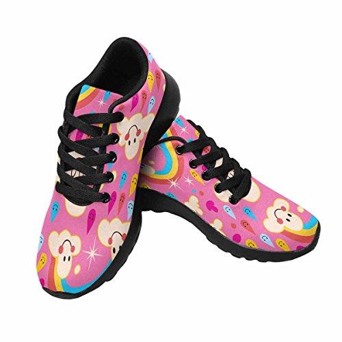Interessante Donna Da Jogging Da Corsa Sneaker Leggero Go Easy Walking Sport Sportivo Scarpe Da Ginnastica Nuvole, Arcobaleni, Pioggia Gocce Modello