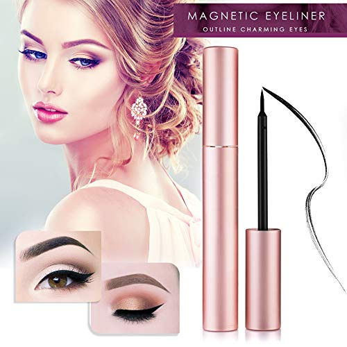 New Design-Magnetic Eyeliner Liquid Liner, Natural Look,Waterproof and Smudge Resistant, Use with Magnetic False Lashes (pink)